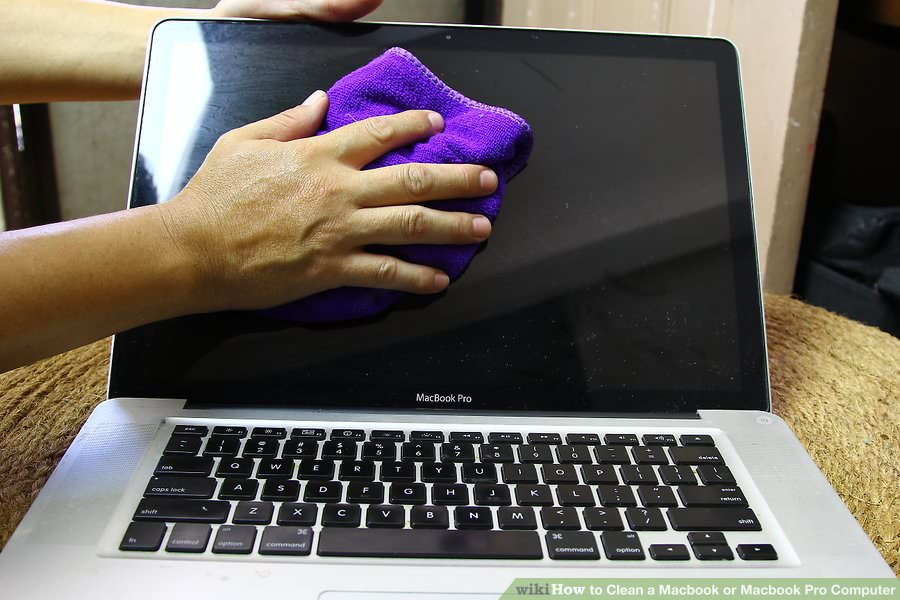 Cleaning a MacBook Screen with a Moist Cloth