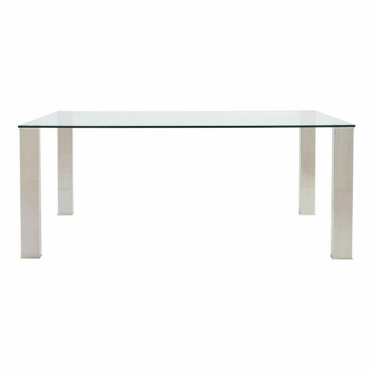 Top 6 Glass Office Desks to Transform Your Office Space -71 inch stainless steel and clear glass desk
