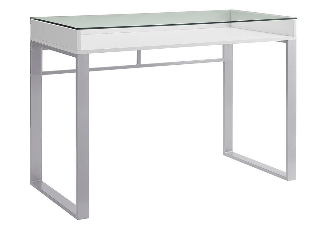Top 6 Glass Office Desks to Transform Your Office Space -42 inch urban industrial white glass office desk