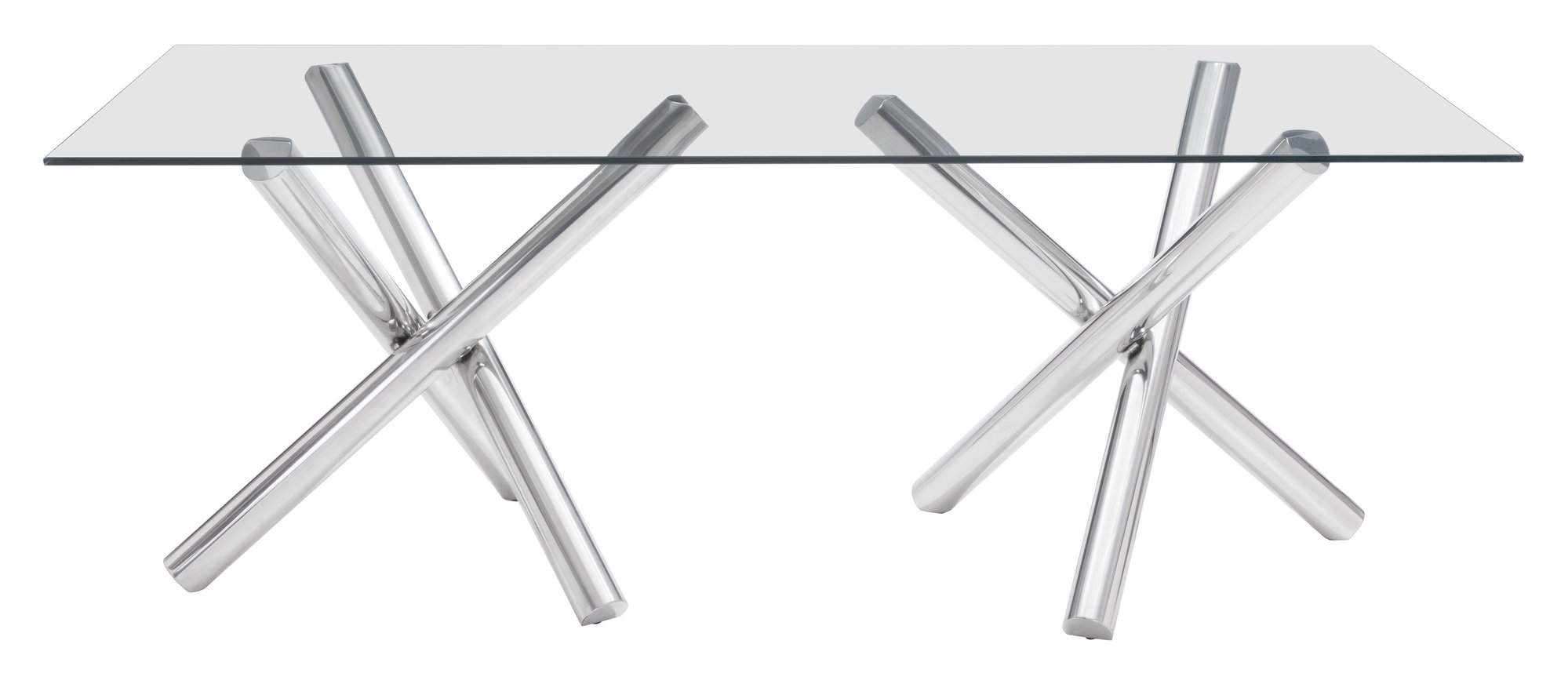 Top 6 Glass Office Desks to Transform Your Office Space -79 inch clear glass and stainless steel modern desk