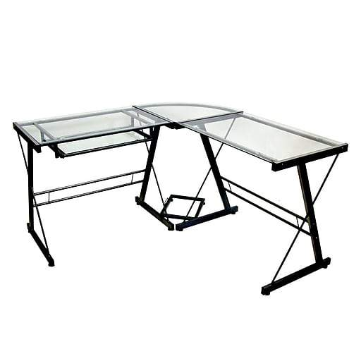 Top 6 Glass Office Desks to Transform Your Office Space -L shaped glass desk with black frame