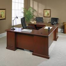 Top 7 U-Shaped Office Desks to Completely Transform Your Office -Cherry Laminate U Desk with Sauder Office Furniture