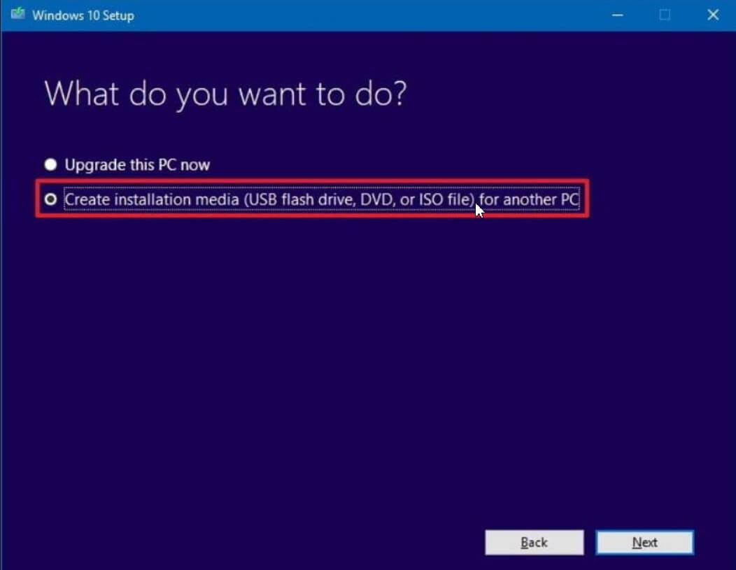 Clean installation of Windows 10
