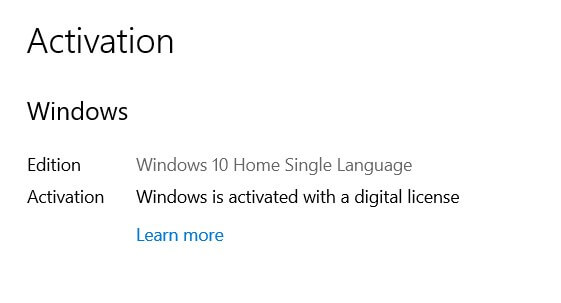 1) Retrieve the Windows Product Key and make sure the system is not activated with a digital right