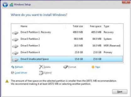 5) Format the PC and proceed with the installation of Windows