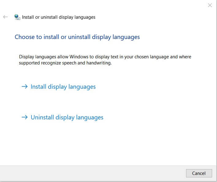 How to change the language in Windows 10? - Install or uninstall display languages