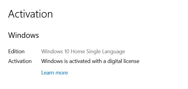 How to change the language in Windows 10? - Activation in the search box