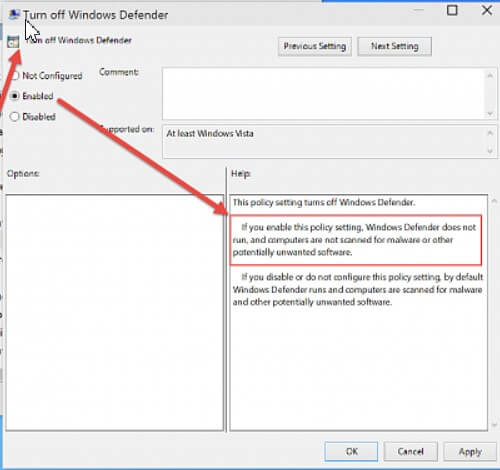 Disable Windows Defender with Group Policy Editor.