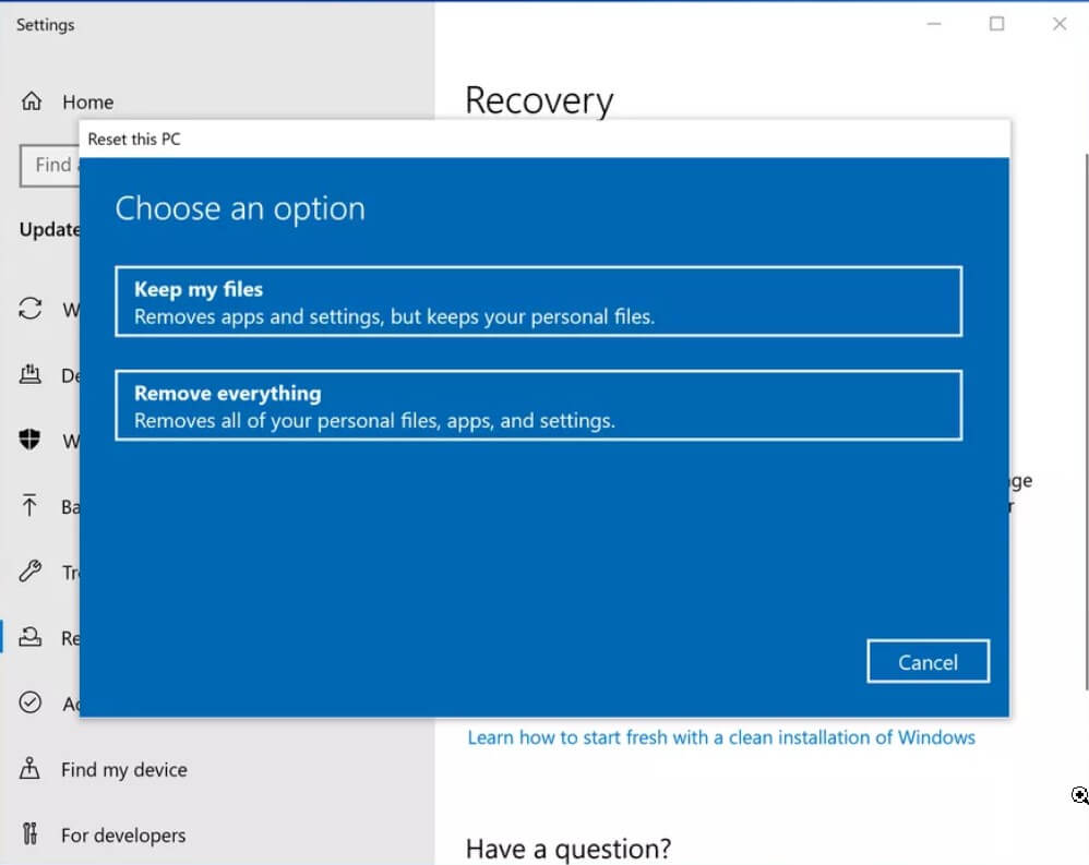 If Windows 10 starts: Reset your PC feature