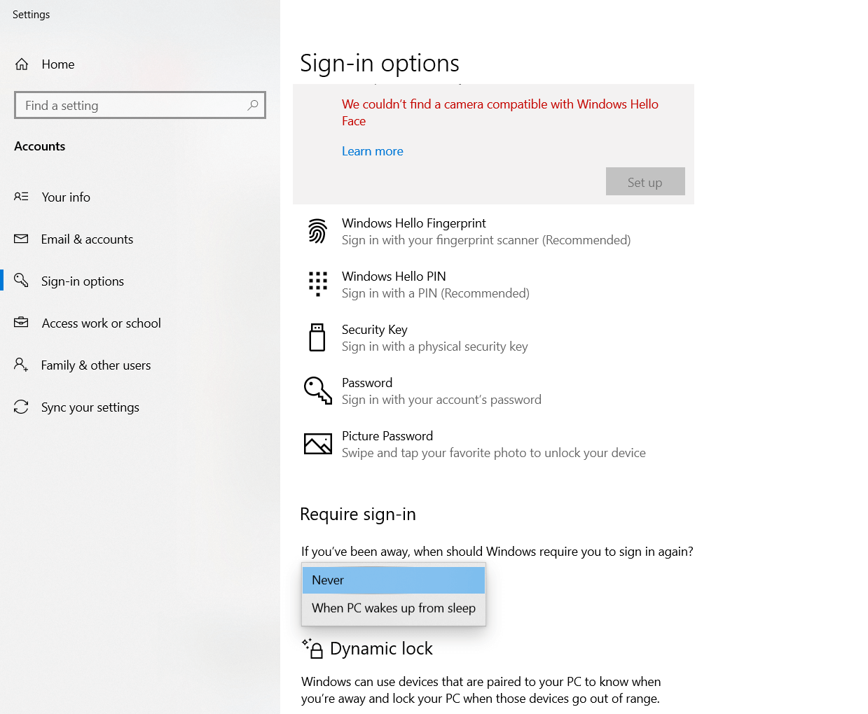 Login options in the Windows 10 search box and then choose Never at Request access