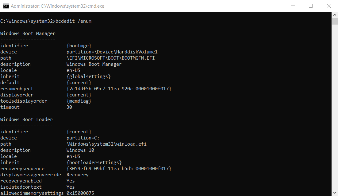 Typing the command bcdedit / enum