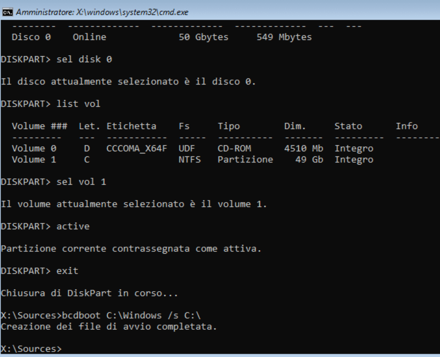 Type exit to exit the Diskpart utility.