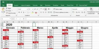2020 Calendar in Excel Format with Holidays