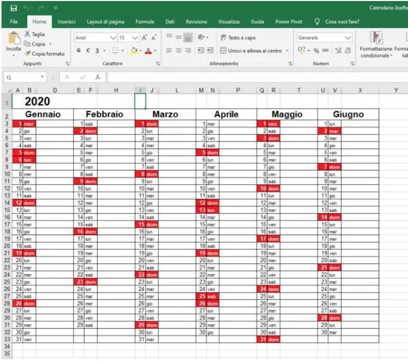 2020 Calendar in Excel Format with Holidays - Image 1