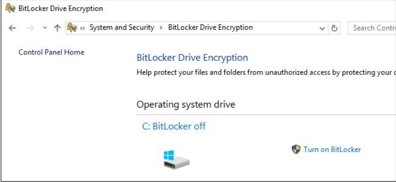 Configure BitLocker to protect the contents of the entire drive