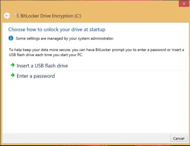 Configure BitLocker to protect the contents of the entire drive.