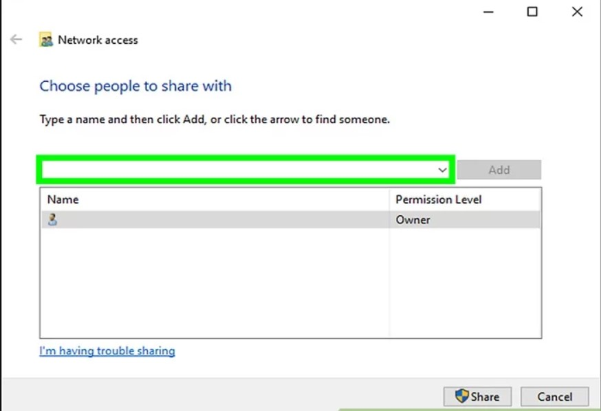 Easy sharing in Windows: Share with… Specific users