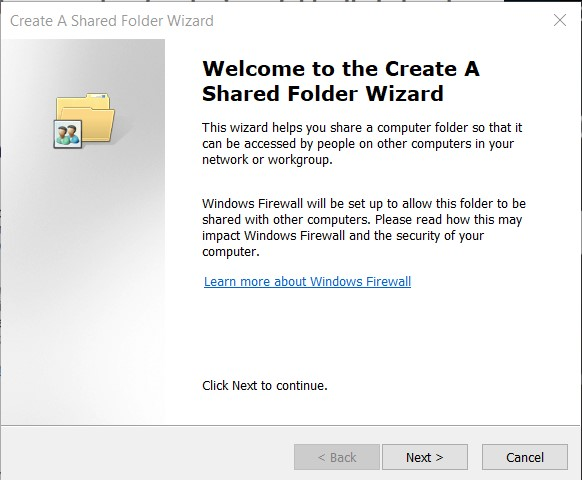 Sharing folders with the wizard