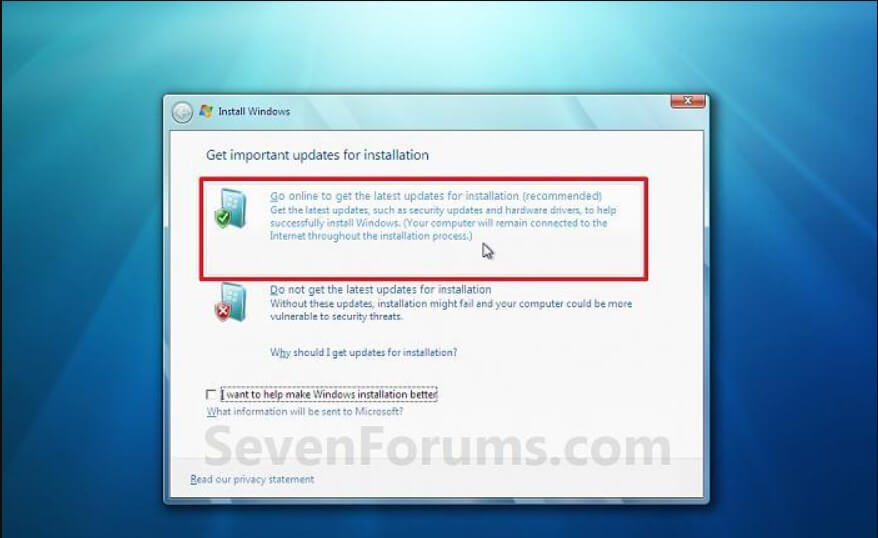 The procedure for reinstalling Windows 7 in practice