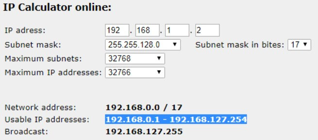 What is the subnet mask