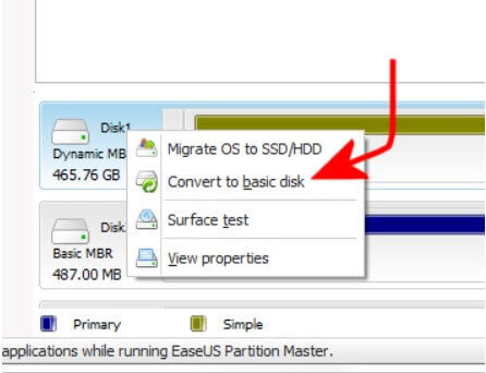 Convert a dynamic disk to a basic disk - Step 6