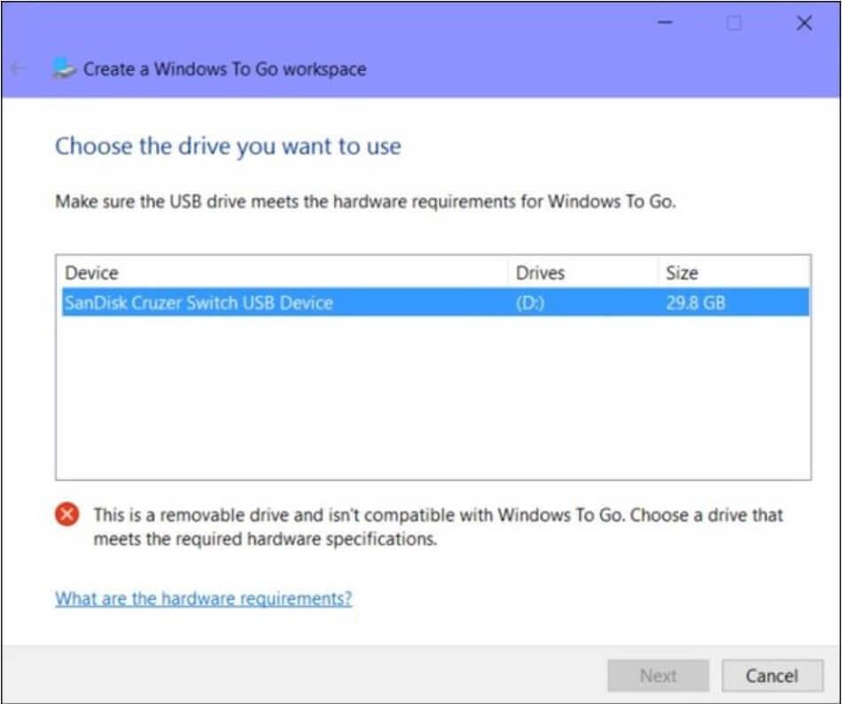 Install Windows on a USB stick or External Drive - Step 2