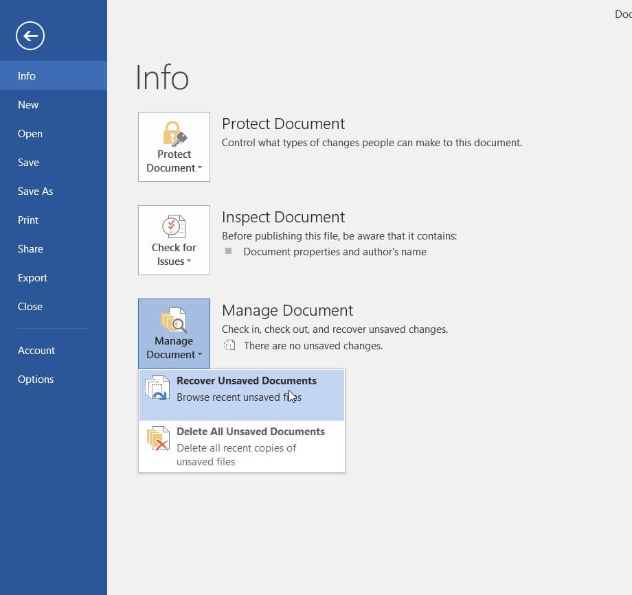 Recover unsaved Word file: How to?