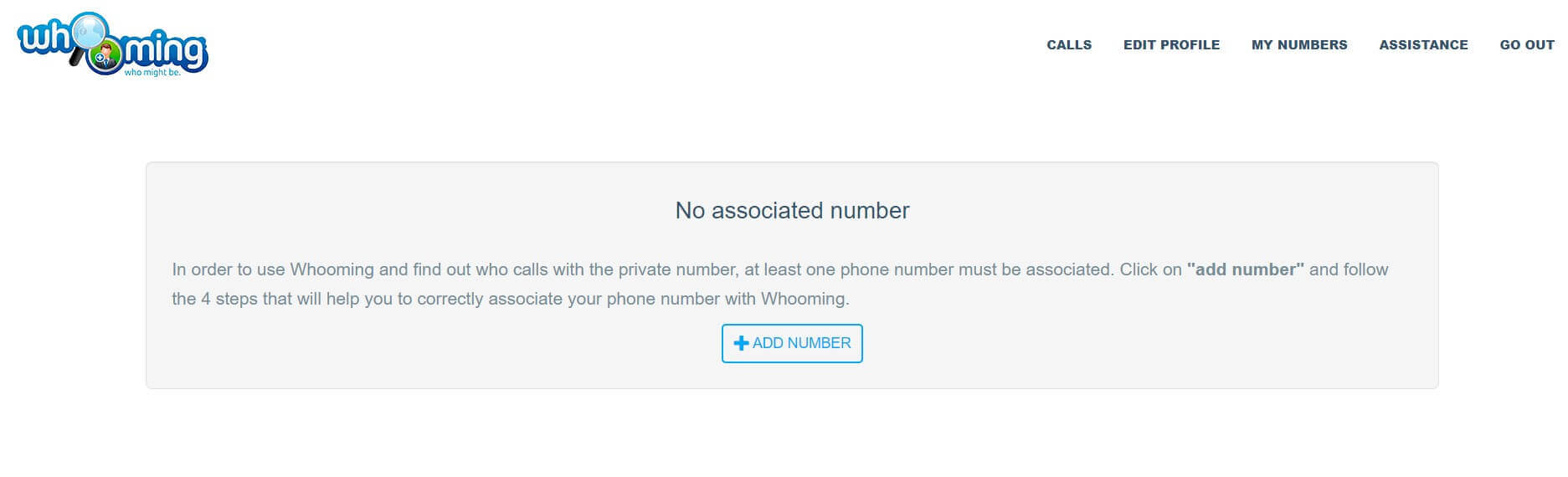 Whooming, What it is and How to Make a Private Number visible - Step 1
