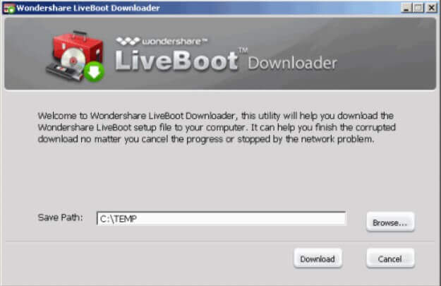 Wondershare LiveBoot 2012 - bootable media for data recovery and troubleshooting - Step 1