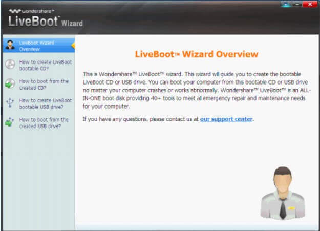 Wondershare LiveBoot 2012 - bootable media for data recovery and troubleshooting - Step 2