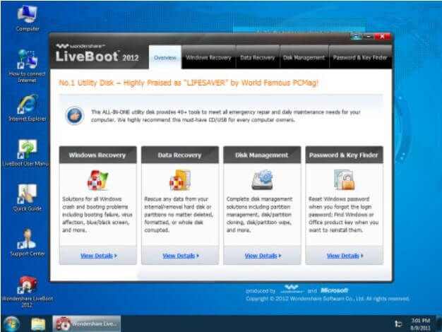 Wondershare LiveBoot 2012 - bootable media for data recovery and troubleshooting - Step 3