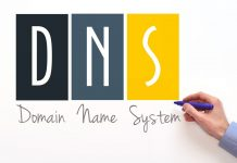 DNS. Domain name system sign on white background