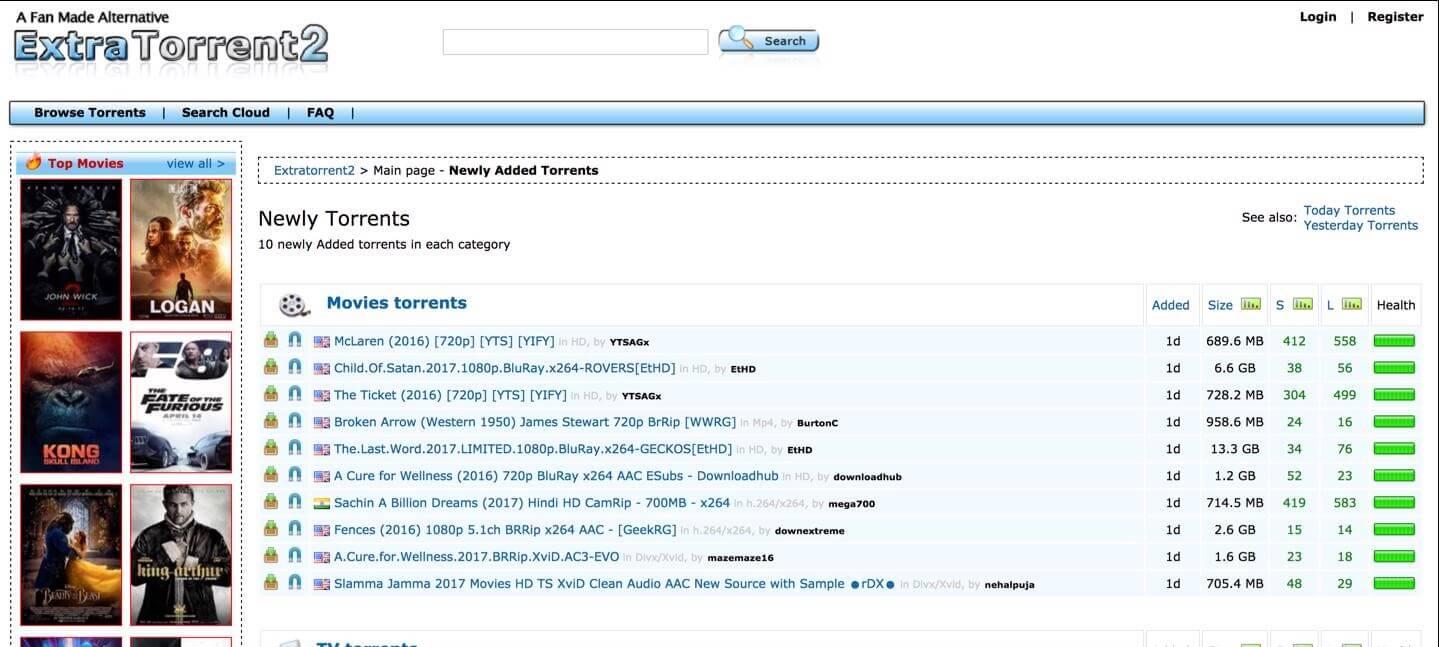ExtraTorrent2 - TorrentReactor Alternatives