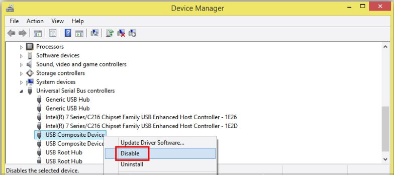 Disable & Enable the Concerned Driver - Step 2