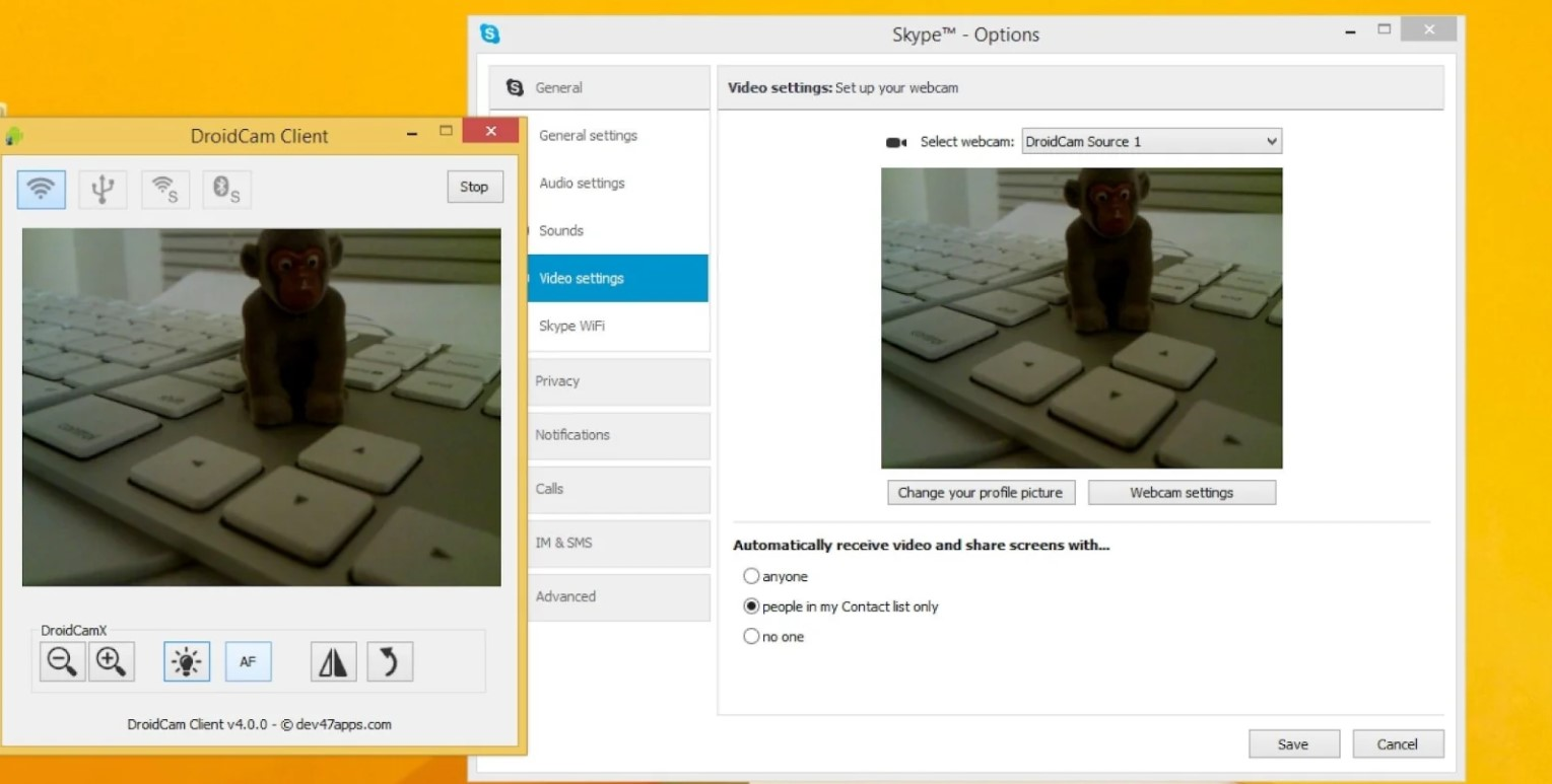 DroidCam to use the mobile as a webcam 1