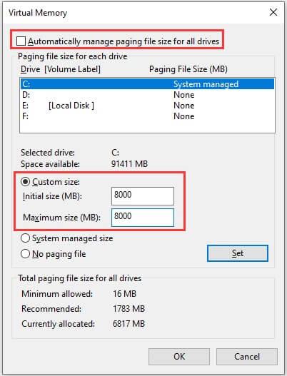 PUBG Buildings Not Loading Fix - Increase the Virtual Memory - Step 2