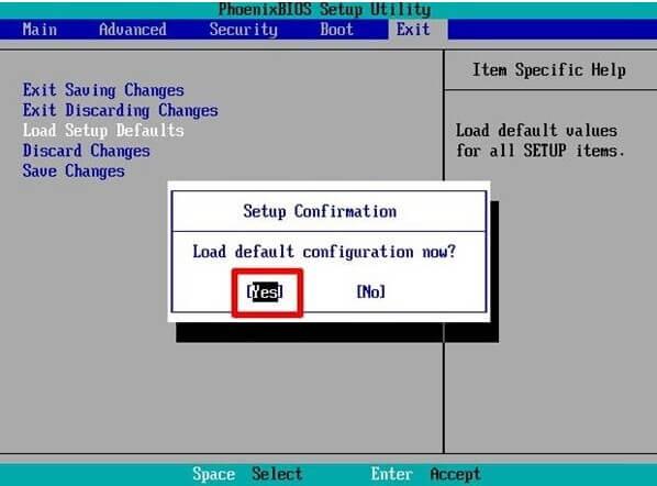 Reset BIOS Setting
