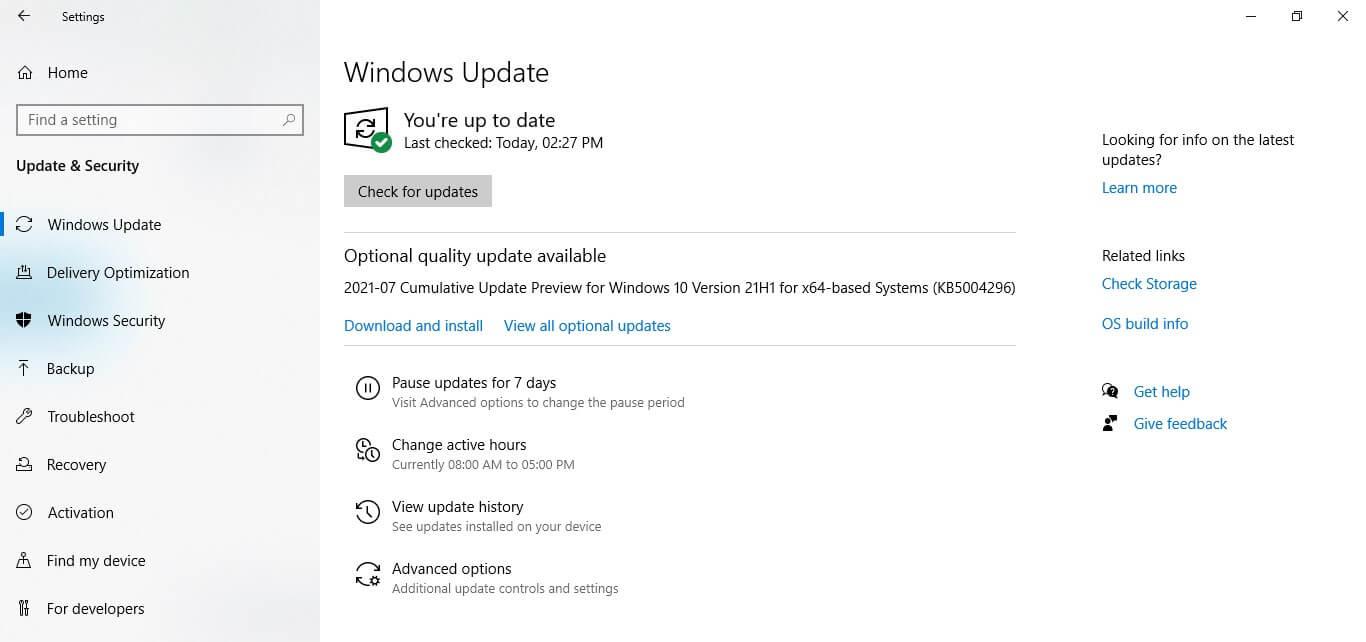 Update windows - Step 2