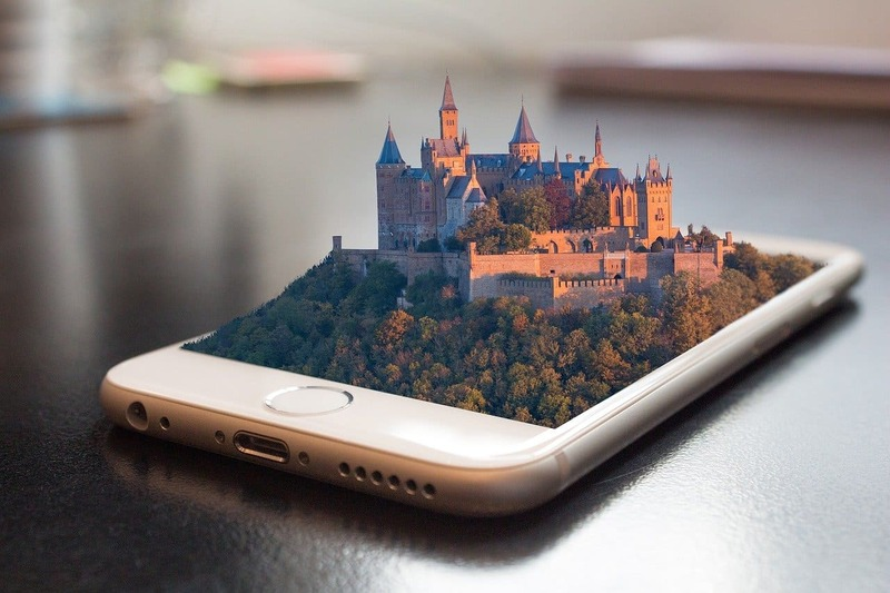 3D design of a castle with nature on a smartphone