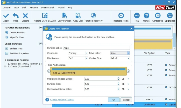 Create another partition to store the apps