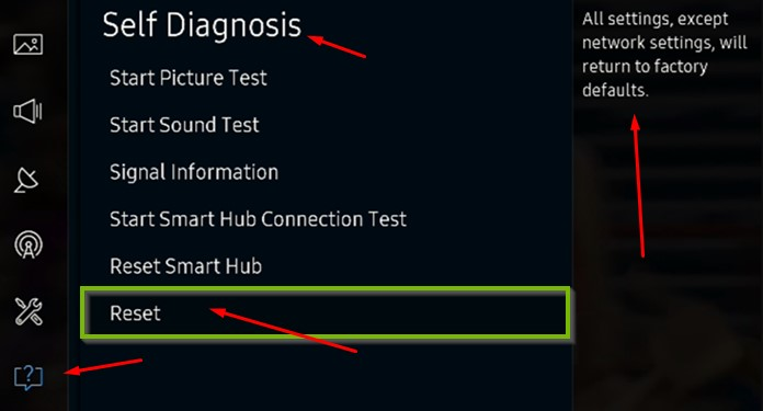 Reset Network or All Applications on your TV